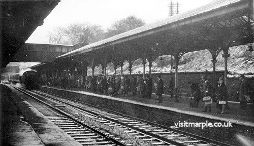 Passengers wait for the 8am from Hayfield on 1st March 1965.