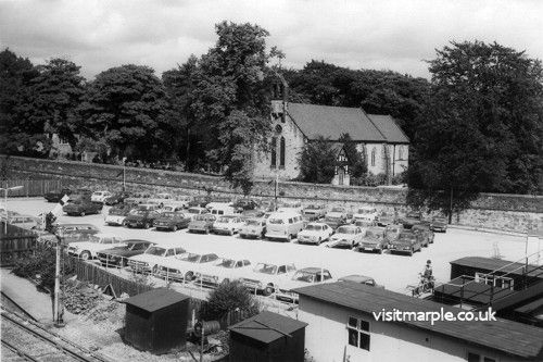 Marple Station and car park on 12 September 1978.