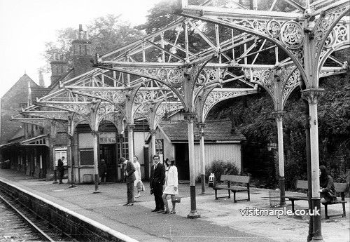Marple Station on 2 August 1969. From Warwick Burton collection in Marple Local History Society Archives.