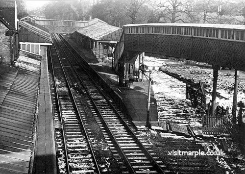 Marple Station from the south after closure of goods yard in March 1965.