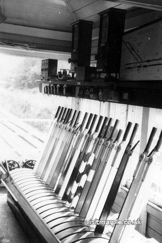 The interior of Marple Wharf Junction Signalbox shortly before closure in July 1980.