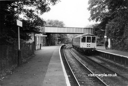 A Scene of silvan tranquillity broken by the arrival of the 9.35 Manchester-Whaley Bridge d.m.u. at Middlewood (Low Level) on 12th September 1978.