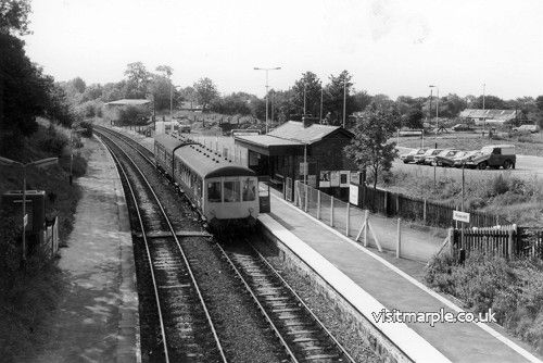 Rose Hill Station. Note the recently completed car park on the site of the goods yard, and the small coal yard beyond.