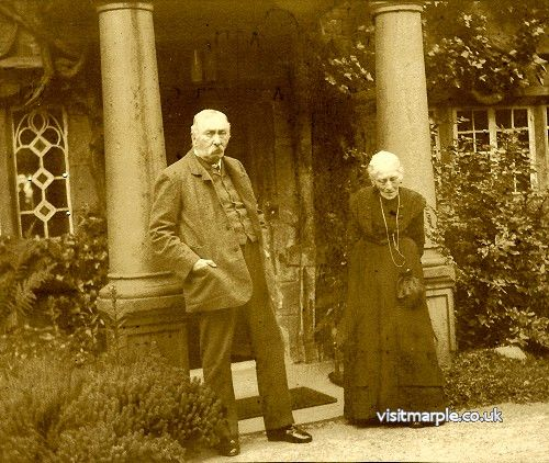 John Henry Bradshaw-Isherwood and wife Elizabeth outside Marple Hall c1907.