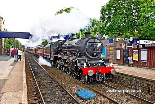 Jubilee Class 5690 Leander BR No.45690 train, Built at Crewe in March 1936 passes through Marple 30 May 2015. By Arthur Procter.